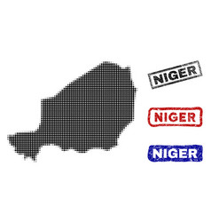 niger map in halftone dot style with grunge title vector image