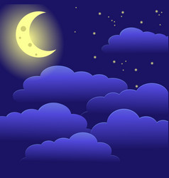 night sky moon and clouds vector image