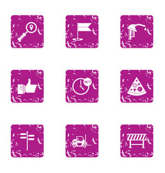 oil company icons set grunge style vector image