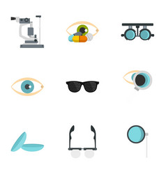 ophthalmology icons set flat style vector image