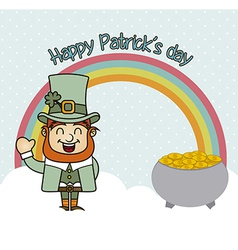 patrick's day with rainbow and coins vintage vector image
