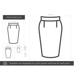 Pencil skirt line icon vector