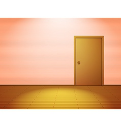 Pink lightened room with door vector image