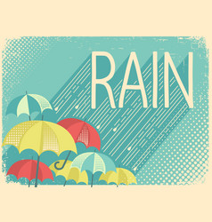 Rain poster background with stylish text and vector