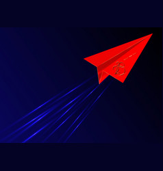 red origami flying envelope in space gold 2020 vector image