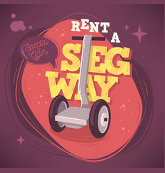 Rent a segway promotional poster flyer card design vector