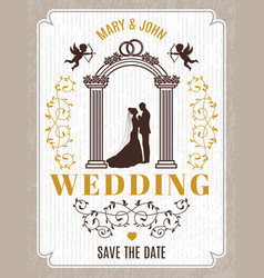 retro poster or wedding card invitation vector image