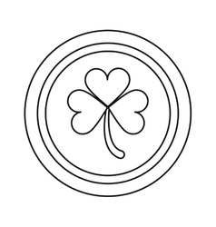 Saint patrick day coin shamrock icon outline vector