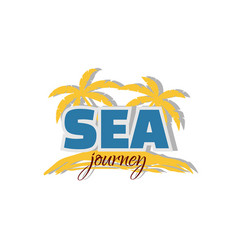 Sea journey icon palm trees and coast vector