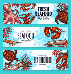 Seafood and fish sea product banners vector