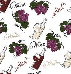 Seamless pattern with grapes and wine vector image
