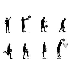 set basketball players vector image