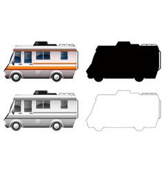 Set campervan transportation vector