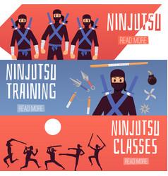 Set horizontal banners with ninja training vector