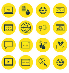 set of 16 seo icons includes video player vector image