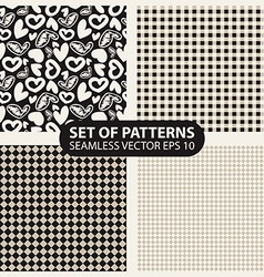 set of seamless patterns from cells and hearts vector image