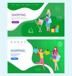 shopping woman web posters effective ways vector image
