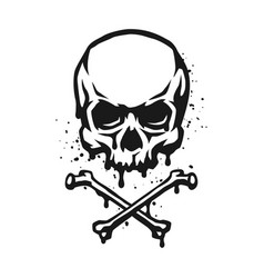 skull and crossbones in grunge style vector image