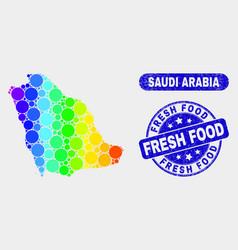 Spectral mosaic saudi arabia map and grunge fresh vector