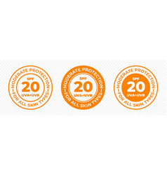Spf 20 sun protection uva and uvb icons spf 20 vector