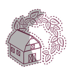 Sticker organic farm with leaves plant vector
