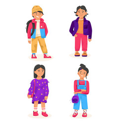 stylish children concept child in casual outfit vector image