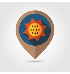 Sunflower flat mapping pin icon vector image