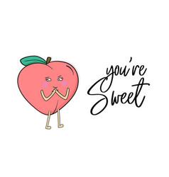 Sweet peach poster nectarine summer fruit vector
