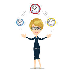 time management concept with businesswoman vector image