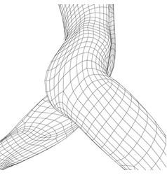 Torso a naked running girl girl body wireframe vector
