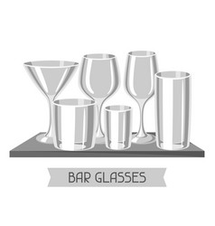 Types of bar glasses set of alcohol glassware on vector