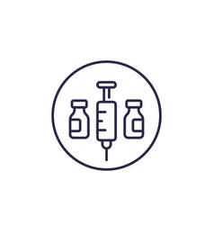Vaccination line icon vector