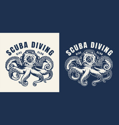 Vintage scuba diving monochrome emblem vector