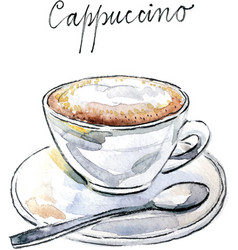 watercolor coffee cappuccino vector image