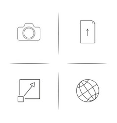 Web and text simple linear icon setsimple outline vector