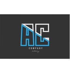 White blue alphabet letter ac a c logo icon design vector