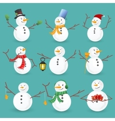 Winter Christmas snowmen collection vector