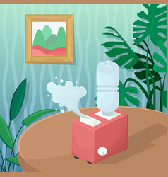 With a humidifier in a cozy room with plants vector