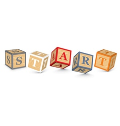 Word START written with alphabet blocks vector
