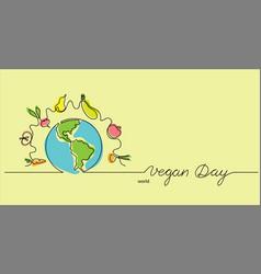 world vegan day hand drawn vector image