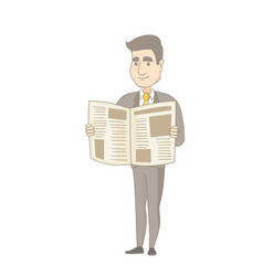 Young caucasian businessman reading newspaper vector