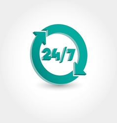 24 hours day and 7 days week icon vector image vector image