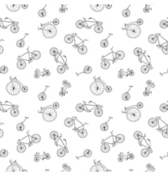 Bicycle seamless pattern in doodle style similar vector