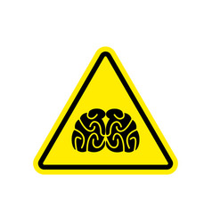 brains warning sign yellow think hazard attention vector image vector image