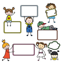 Kids with Blank Signs vector image