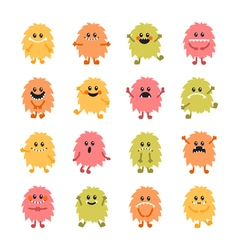Set of cartoon hand drawn smiley monsters vector image