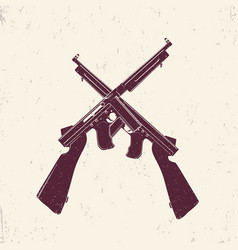 american submachine guns two crossed firearms vector image vector image
