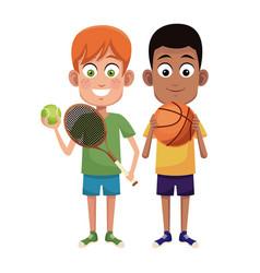 boys sport tennis and basketball design vector image vector image