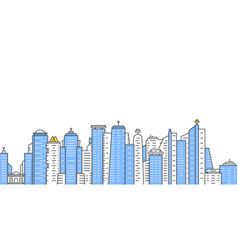 colored thin line city panoramic view vector image