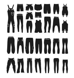 fashion icons and items of pants silhouettes vector image vector image